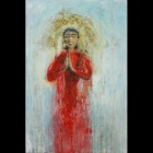 Mother & Child Paintings - Red Madonna Painting